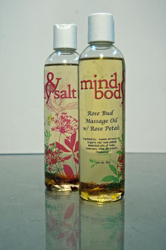 8 ounce bottle of Rose Bud Massage Oil